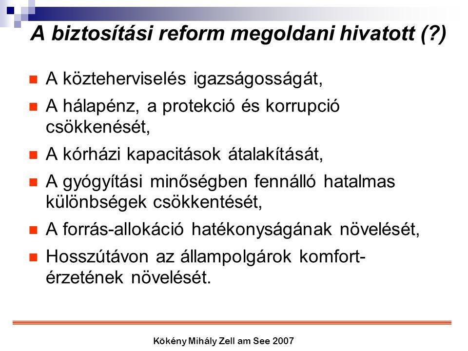 Kökény Mihály Zell am See 2007 A biztosítási reform megoldani hivatott (?) A közteherviselés igazságosságát, A hálapénz, a protekció és korrupció csök