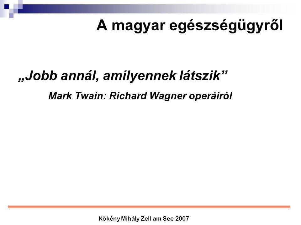 """Kökény Mihály Zell am See 2007 A magyar egészségügyről """"Jobb annál, amilyennek látszik"""" Mark Twain: Richard Wagner operáiról"""