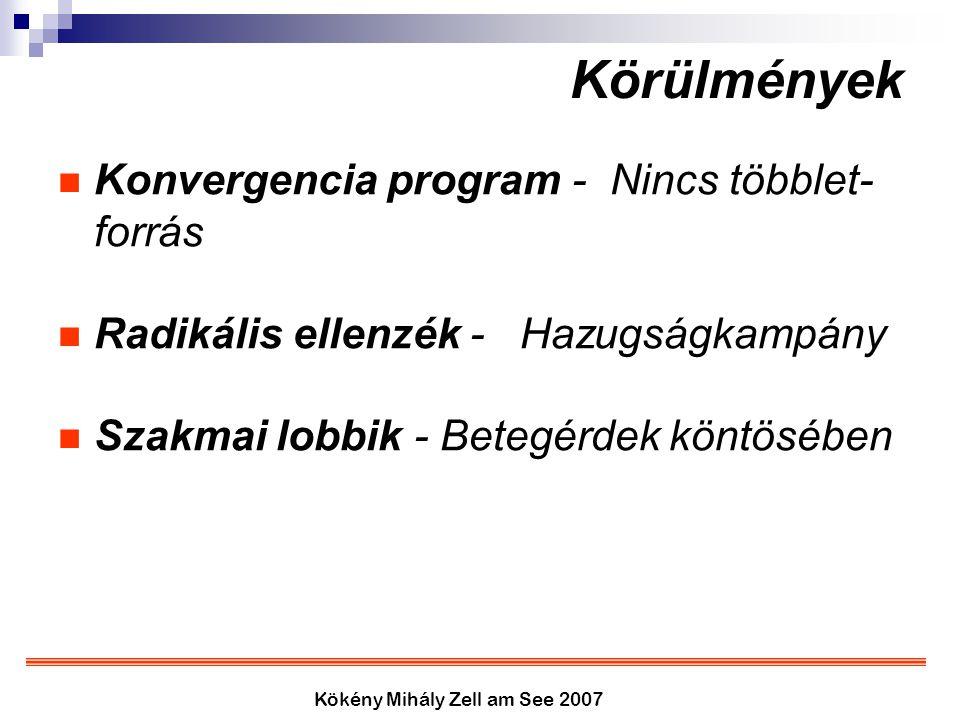 Kökény Mihály Zell am See 2007 Körülmények Konvergencia program - Nincs többlet- forrás Radikális ellenzék - Hazugságkampány Szakmai lobbik - Betegérd
