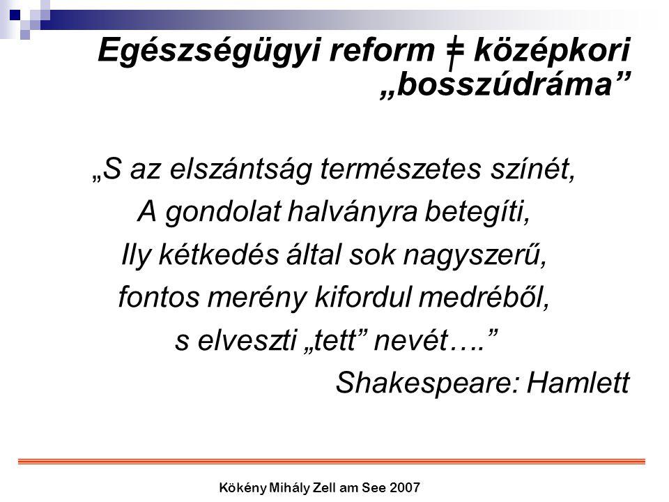 """Kökény Mihály Zell am See 2007 Egészségügyi reform = középkori """"bosszúdráma"""" """"S az elszántság természetes színét, A gondolat halványra betegíti, Ily k"""
