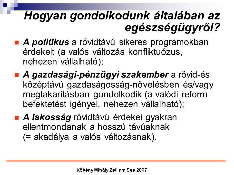 Kökény Mihály Zell am See 2007 Hogyan gondolkodunk általában az egészségügyről? A politikus a rövidtávú sikeres programokban érdekelt (a valós változá