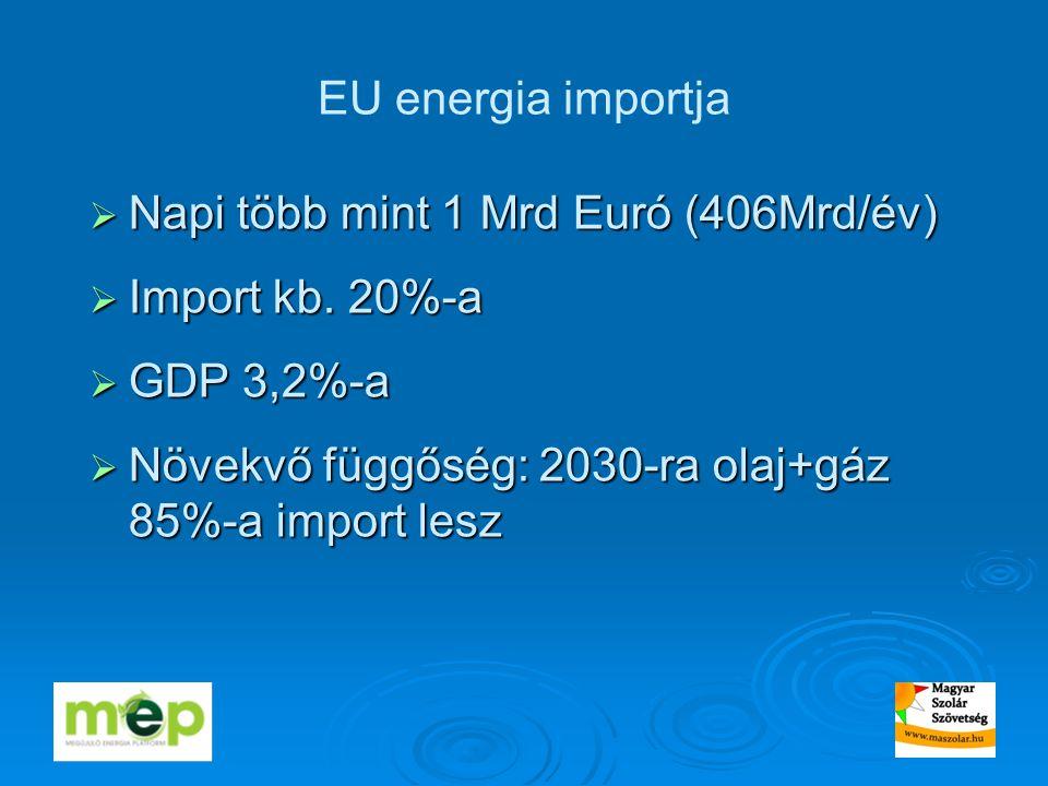 EU energia importja  Napi több mint 1 Mrd Euró (406Mrd/év)  Import kb.