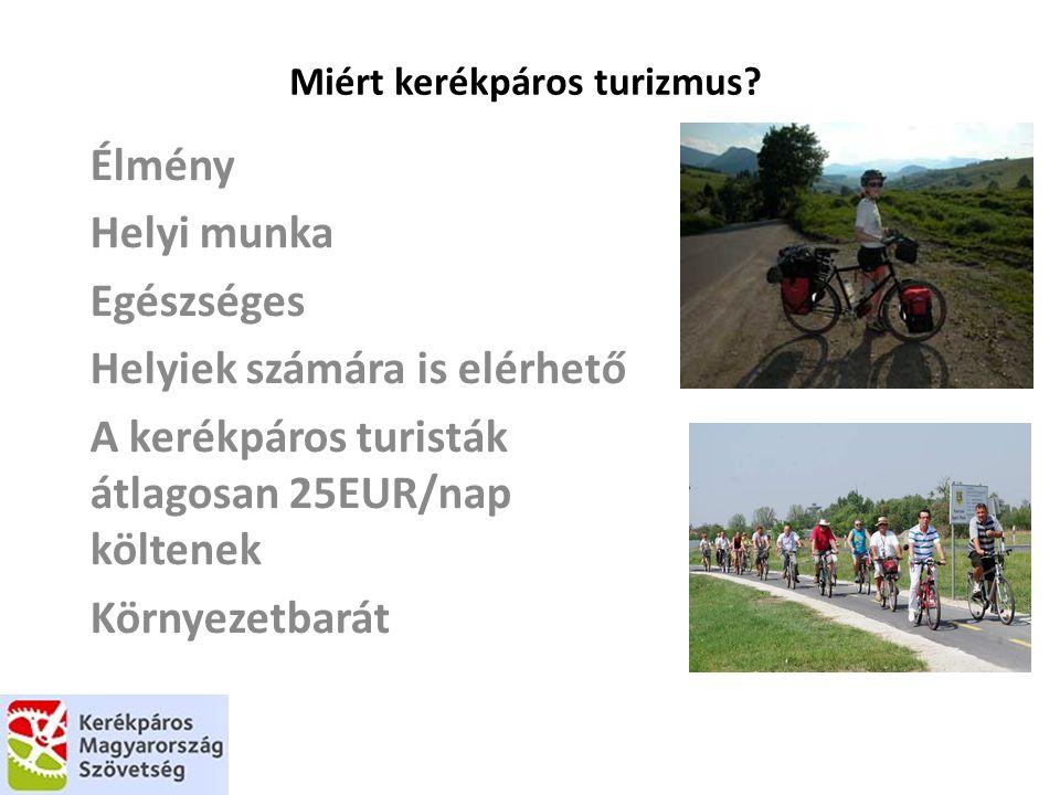 Miért kerékpáros turizmus? Élmény Helyi munka Egészséges Helyiek számára is elérhető A kerékpáros turisták átlagosan 25EUR/nap költenek Környezetbarát