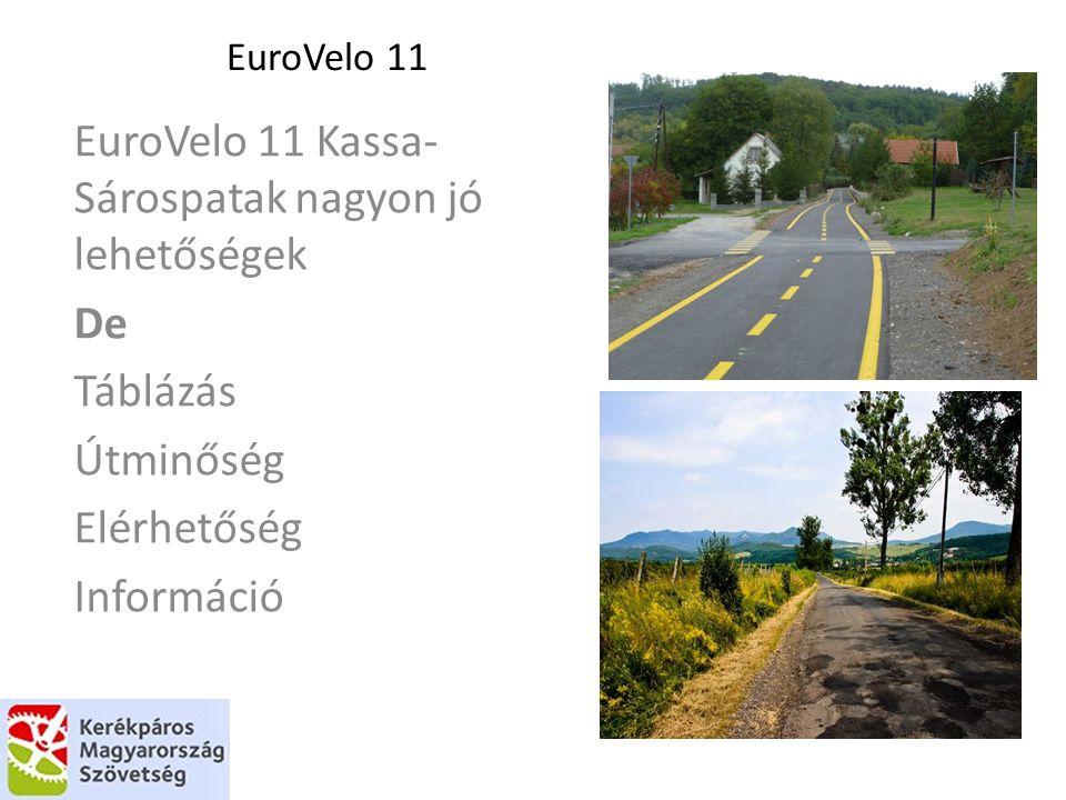EuroVelo 11 EuroVelo 11 Kassa- Sárospatak nagyon jó lehetőségek De Táblázás Útminőség Elérhetőség Információ