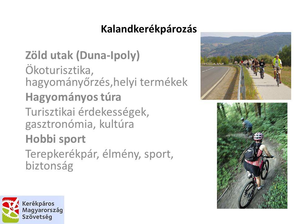 Kalandkerékpározás Zöld utak (Duna-Ipoly) Ökoturisztika, hagyományőrzés,helyi termékek Hagyományos túra Turisztikai érdekességek, gasztronómia, kultúra Hobbi sport Terepkerékpár, élmény, sport, biztonság