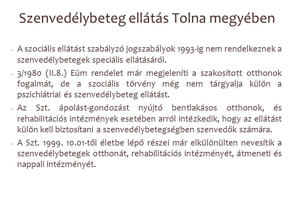 Szenvedélybeteg ellátás Tolna megyében A szociális ellátást szabályzó jogszabályok 1993-ig nem rendelkeznek a szenvedélybetegek speciális ellátásáról.