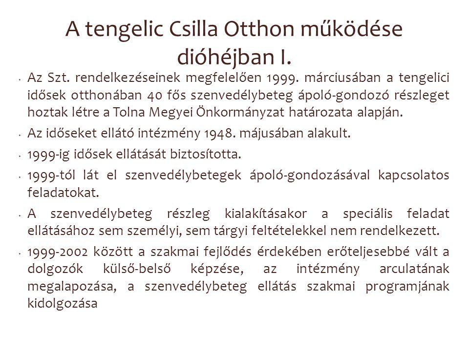 A tengelic Csilla Otthon működése dióhéjban I. Az Szt. rendelkezéseinek megfelelően 1999. márciusában a tengelici idősek otthonában 40 fős szenvedélyb