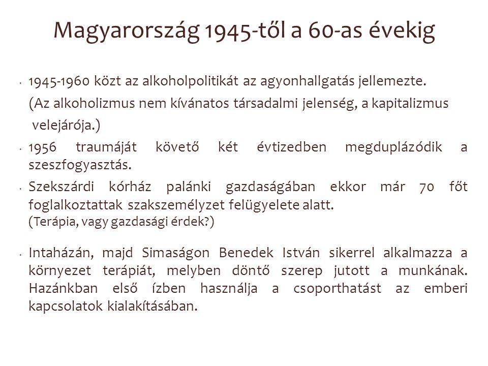 Magyarország 1945-től a 60-as évekig 1945-1960 közt az alkoholpolitikát az agyonhallgatás jellemezte. (Az alkoholizmus nem kívánatos társadalmi jelens