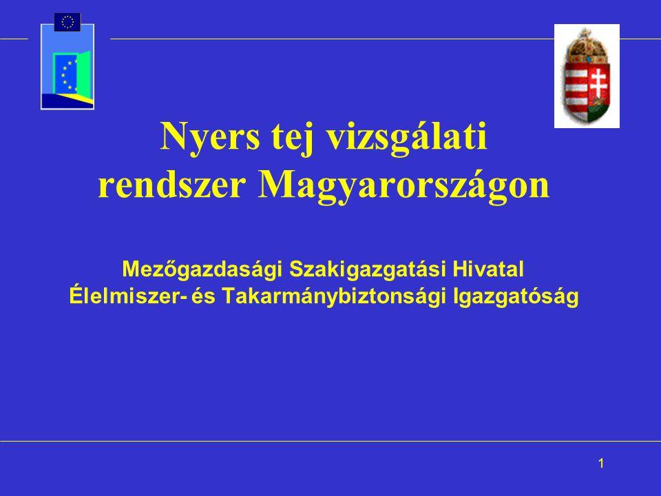 1 Nyers tej vizsgálati rendszer Magyarországon Mezőgazdasági Szakigazgatási Hivatal Élelmiszer- és Takarmánybiztonsági Igazgatóság