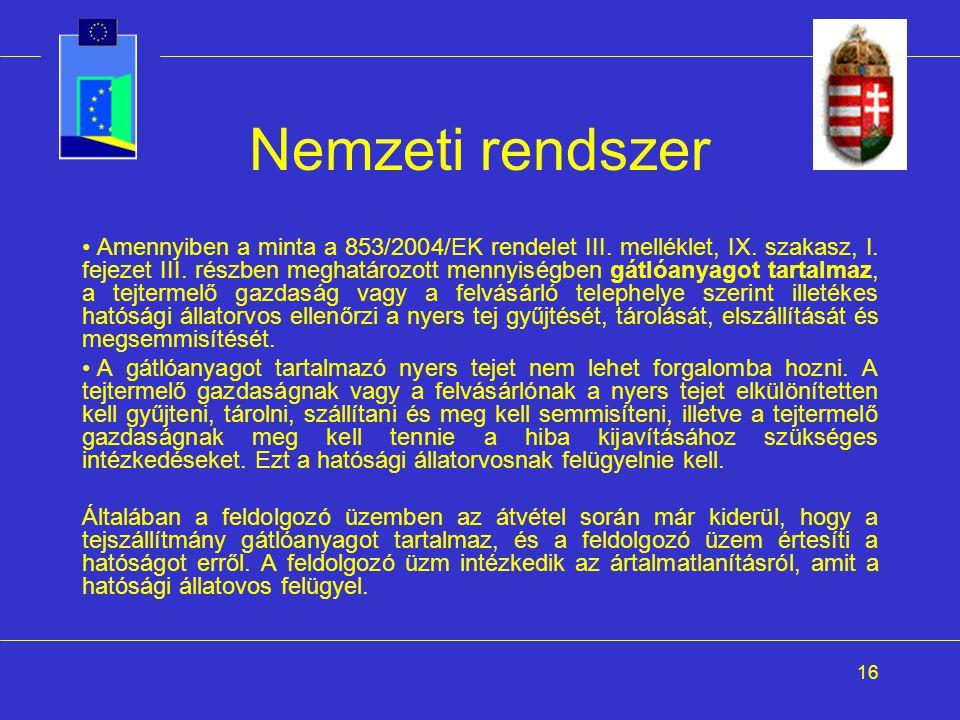 16 Nemzeti rendszer Amennyiben a minta a 853/2004/EK rendelet III. melléklet, IX. szakasz, I. fejezet III. részben meghatározott mennyiségben gátlóany