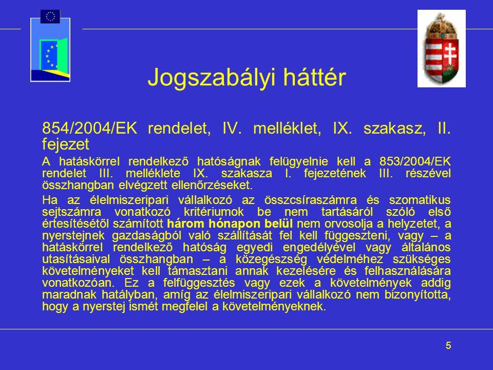 5 Jogszabályi háttér 854/2004/EK rendelet, IV. melléklet, IX. szakasz, II. fejezet A hatáskörrel rendelkező hatóságnak felügyelnie kell a 853/2004/EK