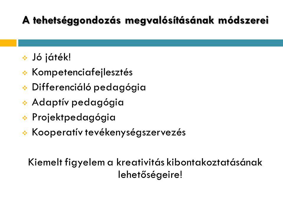 A tehetséggondozás megvalósításának módszerei  Jó játék!  Kompetenciafejlesztés  Differenciáló pedagógia  Adaptív pedagógia  Projektpedagógia  K