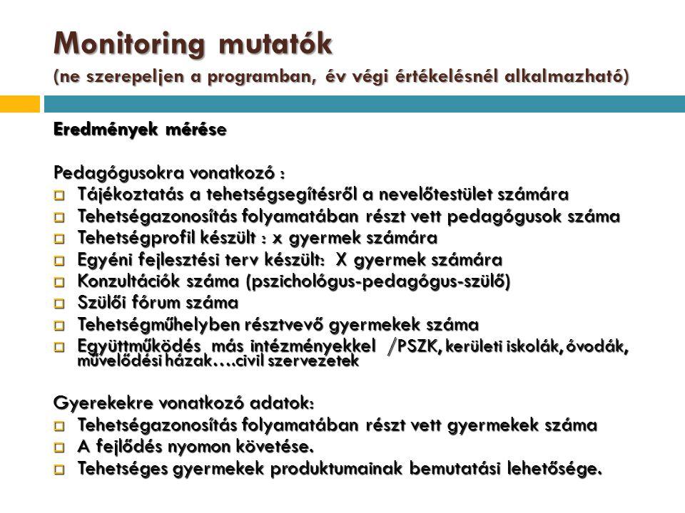 Monitoring mutatók (ne szerepeljen a programban, év végi értékelésnél alkalmazható) Eredmények mérése Pedagógusokra vonatkozó :  Tájékoztatás a tehet