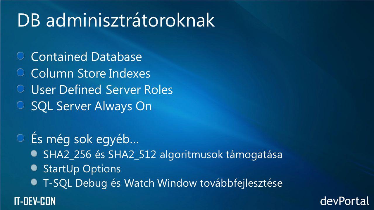 IT-DEV-CON DB adminisztrátoroknak Contained Database
