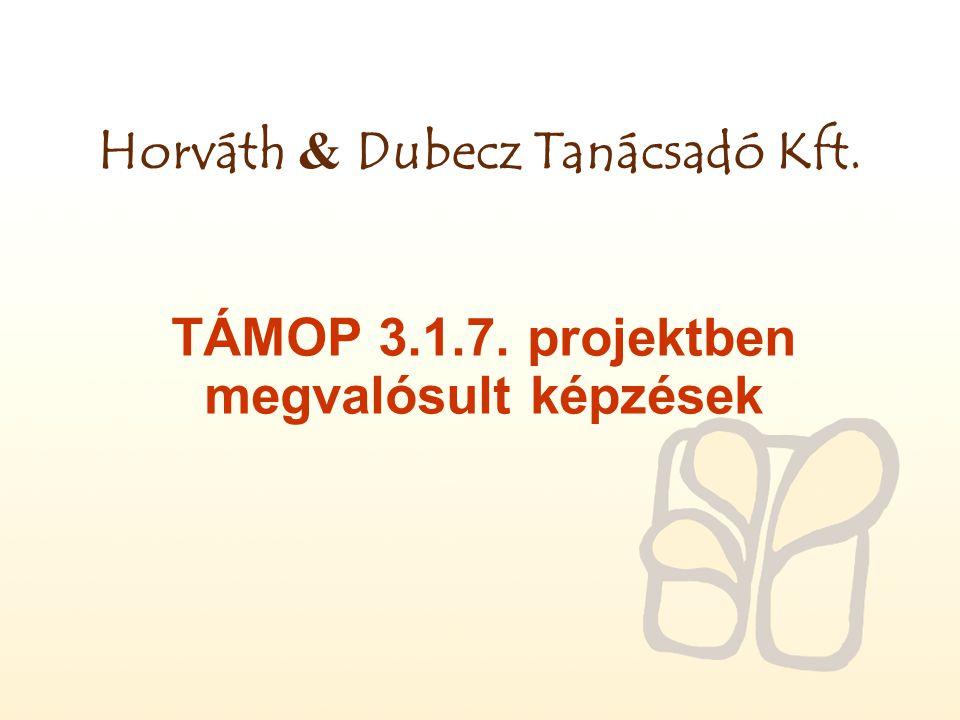Horváth & Dubecz Tanácsadó Kft. TÁMOP 3.1.7. projektben megvalósult képzések