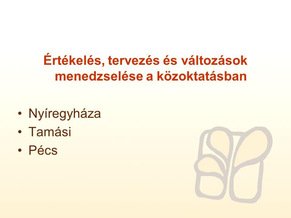 Értékelés, tervezés és változások menedzselése a közoktatásban Nyíregyháza Tamási Pécs