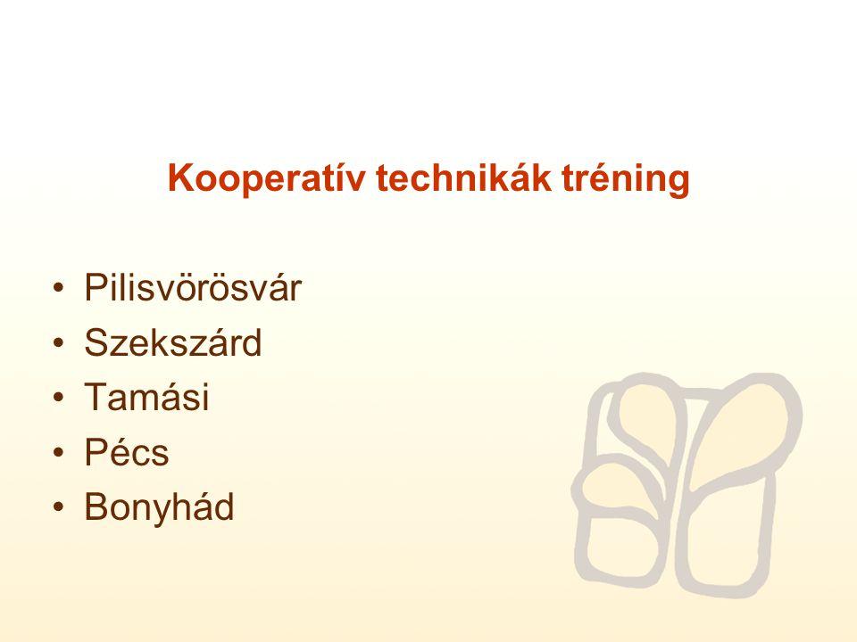 Kooperatív technikák tréning Pilisvörösvár Szekszárd Tamási Pécs Bonyhád