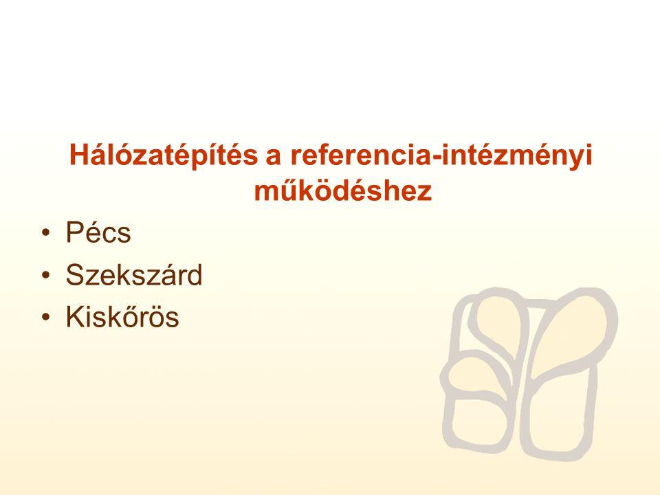 A referencia-intézményi működéshez szükséges szervezeti, oktatásszervezési, szolgáltatás szervezési feltételrendszer kialakítása Kiskunfélegyháza A referencia-intézményi működéshez szükséges szolgáltatási feltételrendszer kialakítása Budapest Pécs Szeged Szekszárd