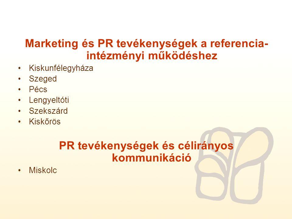 Marketing és PR tevékenységek a referencia- intézményi működéshez Kiskunfélegyháza Szeged Pécs Lengyeltóti Szekszárd Kiskőrös PR tevékenységek és célirányos kommunikáció Miskolc