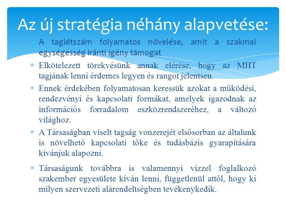  A taglétszám folyamatos növelése, amit a szakmai egységesség iránti igény támogat  Elkötelezett törekvésünk annak elérése, hogy az MHT tagjának lenni érdemes legyen és rangot jelentsen.