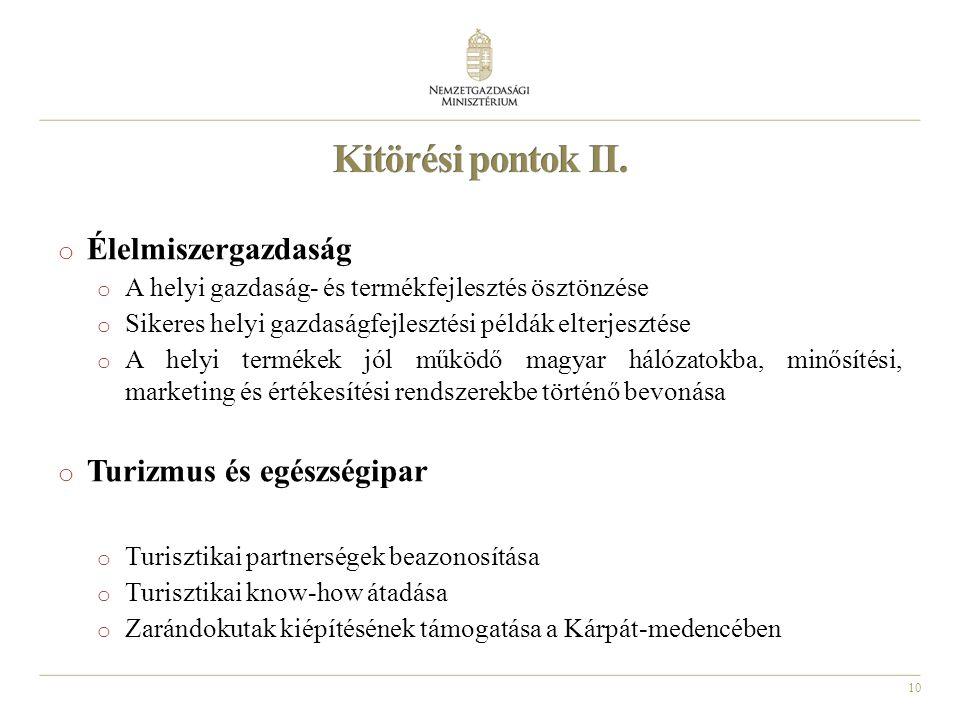 10 o Élelmiszergazdaság o A helyi gazdaság- és termékfejlesztés ösztönzése o Sikeres helyi gazdaságfejlesztési példák elterjesztése o A helyi termékek jól működő magyar hálózatokba, minősítési, marketing és értékesítési rendszerekbe történő bevonása o Turizmus és egészségipar o Turisztikai partnerségek beazonosítása o Turisztikai know-how átadása o Zarándokutak kiépítésének támogatása a Kárpát-medencében