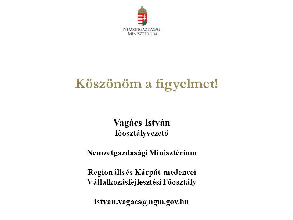Köszönöm a figyelmet! Vagács István főosztályvezető Nemzetgazdasági Minisztérium Regionális és Kárpát-medencei Vállalkozásfejlesztési Főosztály istvan