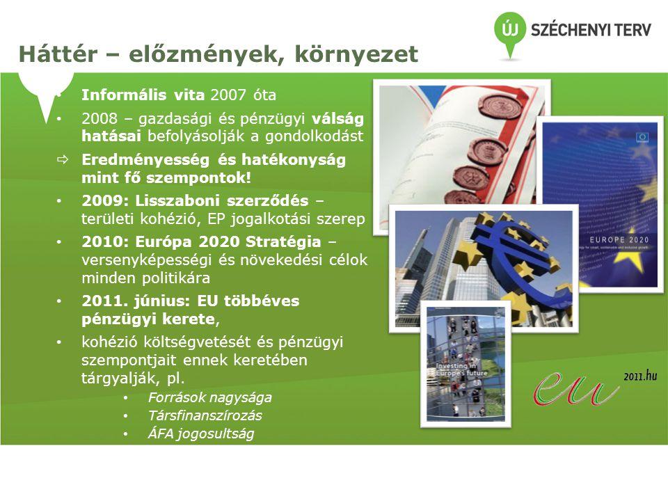 Informális vita 2007 óta 2008 – gazdasági és pénzügyi válság hatásai befolyásolják a gondolkodást  Eredményesség és hatékonyság mint fő szempontok! 2