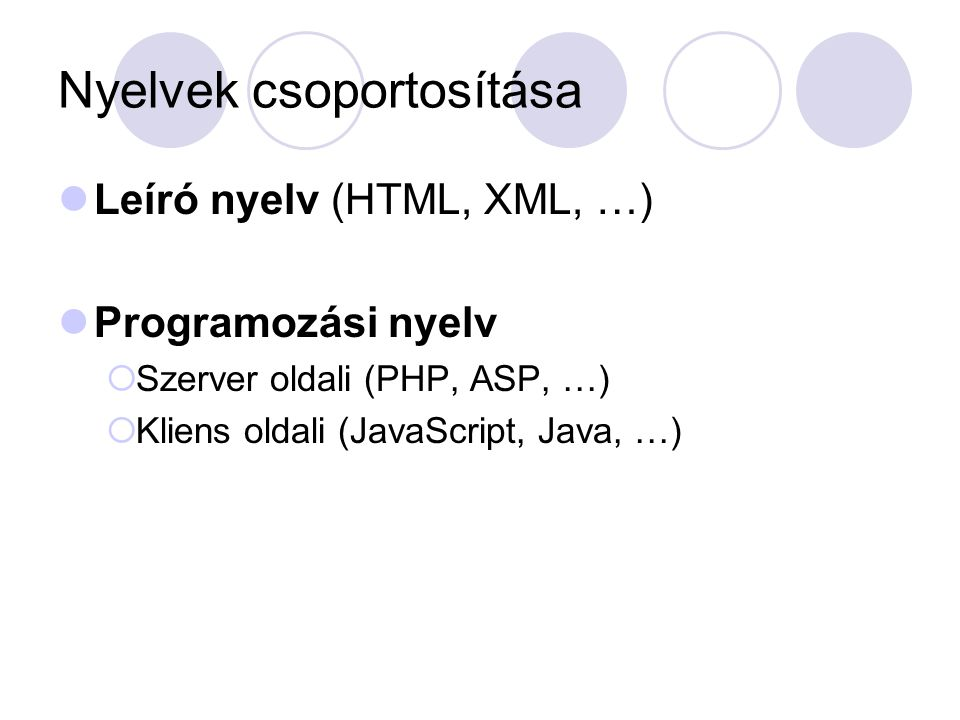 Nyelvek csoportosítása Leíró nyelv (HTML, XML, …) Programozási nyelv  Szerver oldali (PHP, ASP, …)  Kliens oldali (JavaScript, Java, …)