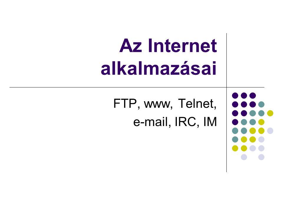E-mail Cím: felhasználónév @ a szolgáltató domain neve pl: travis@vts.hutravis@vts.hu fejlécben szereplő adatok: To:, From:, Subject:, Date:, CC:, BCC: Carpon-Copy, Blind-Carbon-Copy SSL küldés, spam