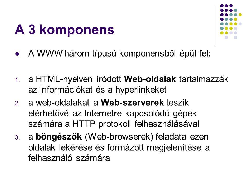 A 3 komponens A WWW három típusú komponensből épül fel: 1. a HTML-nyelven íródott Web-oldalak tartalmazzák az információkat és a hyperlinkeket 2. a we