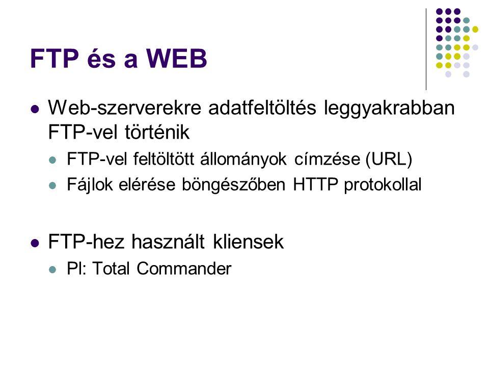 FTP és a WEB Web-szerverekre adatfeltöltés leggyakrabban FTP-vel történik FTP-vel feltöltött állományok címzése (URL) Fájlok elérése böngészőben HTTP