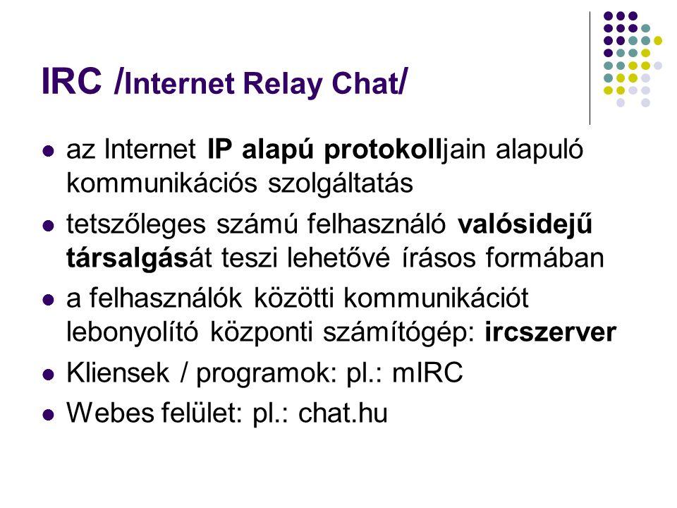 Fogalmak /IRC/ Op: operátor jogosultságú felhasználó Kick: kirúgás Ban: tiltás Robotok, botok: felhasználóként működő programok Flood: Túl sok üzenet küldése, ugyanannak a sornak az ismétlése gyors egymásutánban.