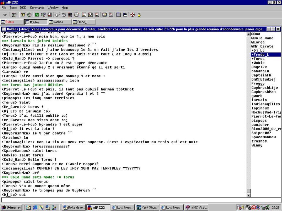 IM / instant messaging azonnali üzenetküldő szoftverek MSN Messenger, Jabber, AOL AIM, Skype, Yahoo Messenger, ICQ, Google Talk Csevegő szoftverek többféle hálózatra: iChat, Gaim és Trillian együttműködések, hálózatok átjárhatósága Szöveg-, hang-, kép(webcam)-, fájlátvitel
