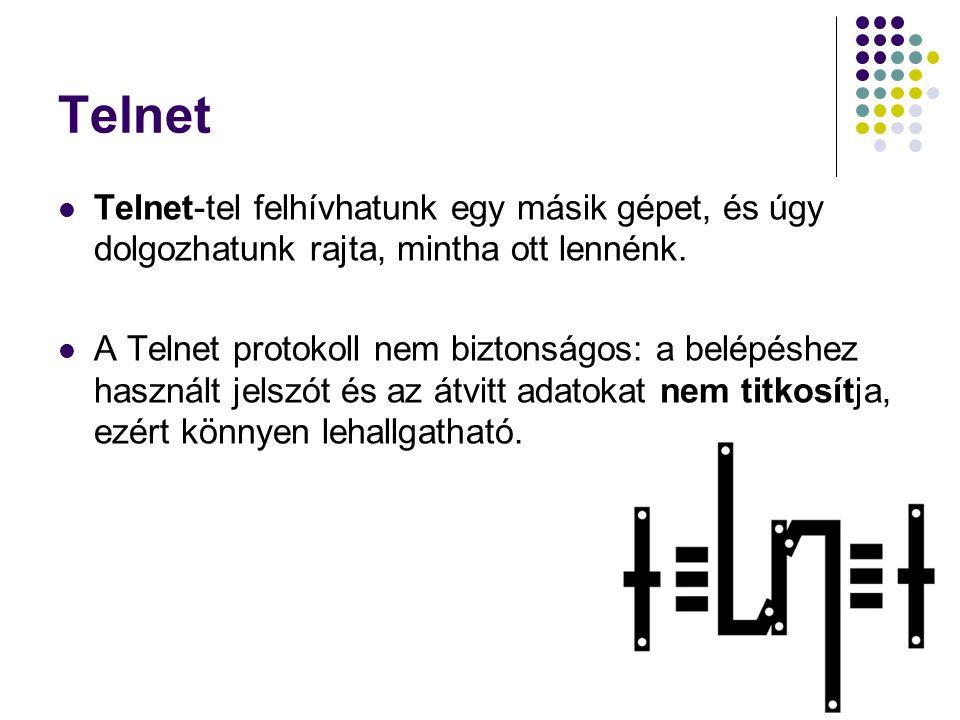 Telnet Telnet-tel felhívhatunk egy másik gépet, és úgy dolgozhatunk rajta, mintha ott lennénk. A Telnet protokoll nem biztonságos: a belépéshez haszná