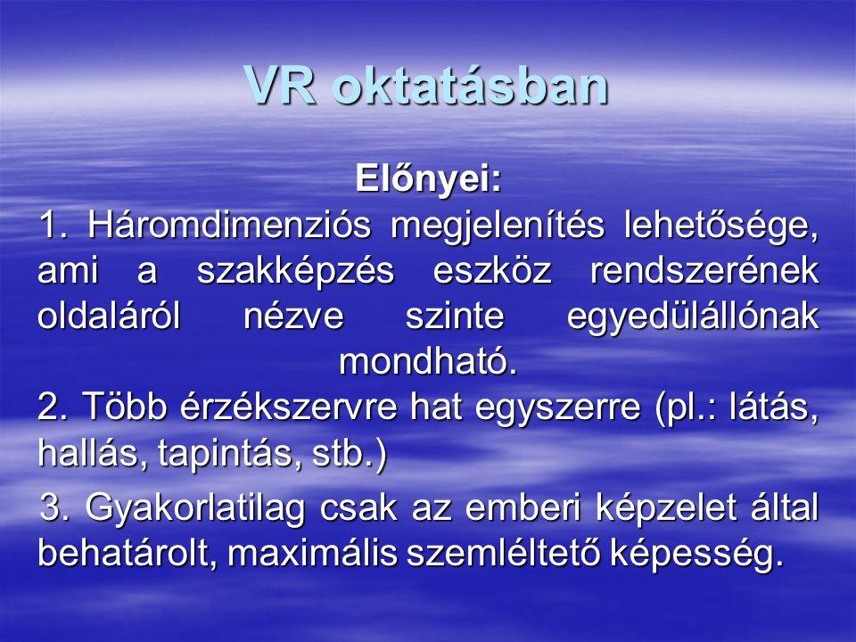 VR oktatásban Előnyei: 1.
