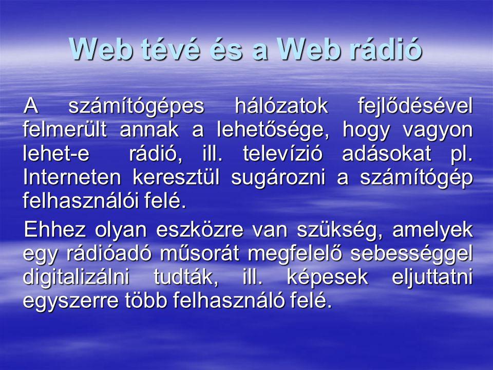 Web tévé és a Web rádió A számítógépes hálózatok fejlődésével felmerült annak a lehetősége, hogy vagyon lehet-e rádió, ill. televízió adásokat pl. Int