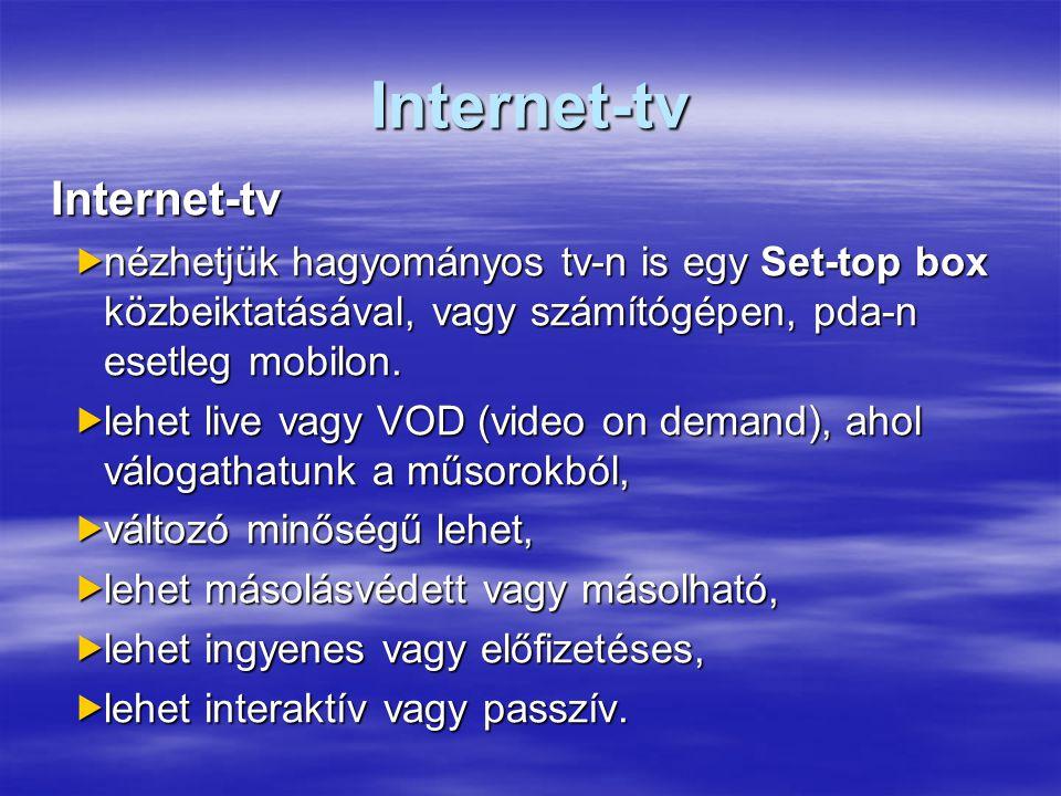 Internet-tv Internet-tv  nézhetjük hagyományos tv-n is egy Set-top box közbeiktatásával, vagy számítógépen, pda-n esetleg mobilon.