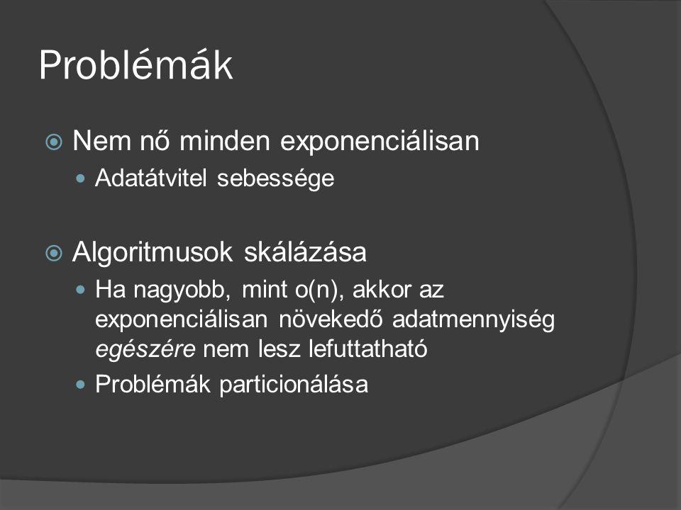 Problémák  Nem nő minden exponenciálisan Adatátvitel sebessége  Algoritmusok skálázása Ha nagyobb, mint o(n), akkor az exponenciálisan növekedő adatmennyiség egészére nem lesz lefuttatható Problémák particionálása