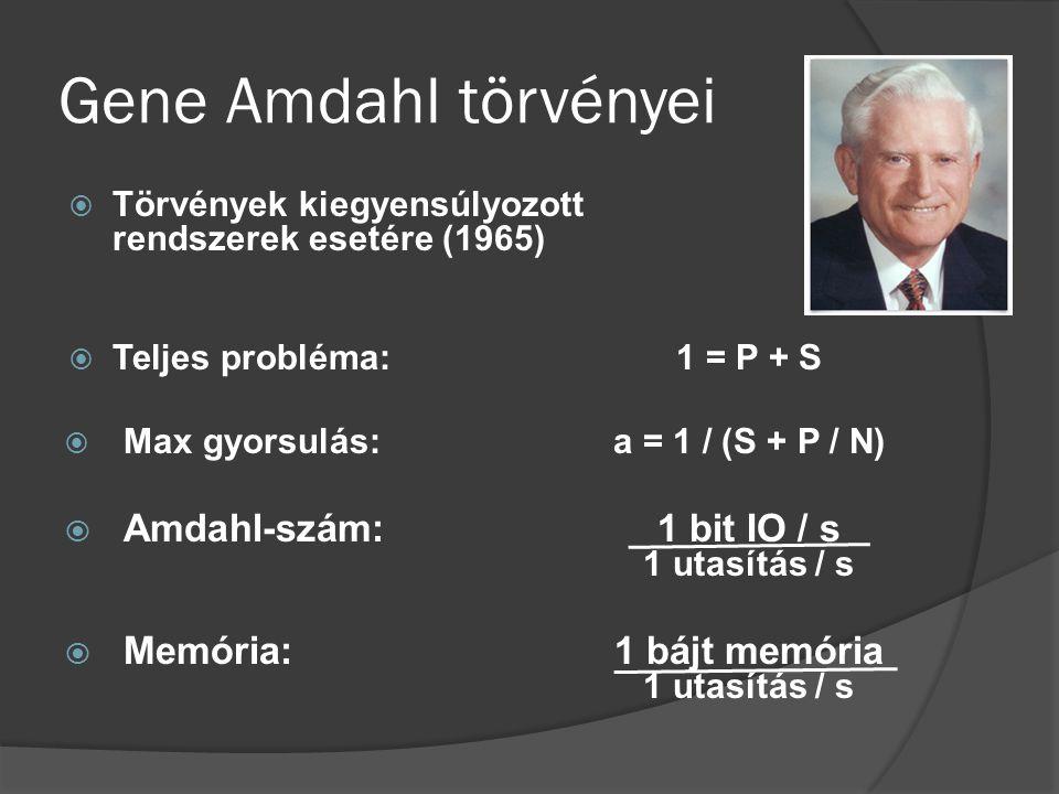 Gene Amdahl törvényei  Törvények kiegyensúlyozott rendszerek esetére (1965)  Teljes probléma:1 = P + S  Max gyorsulás:a = 1 / (S + P / N)  Amdahl-szám:1 bit IO / s 1 utasítás / s  Memória:1 bájt memória 1 utasítás / s