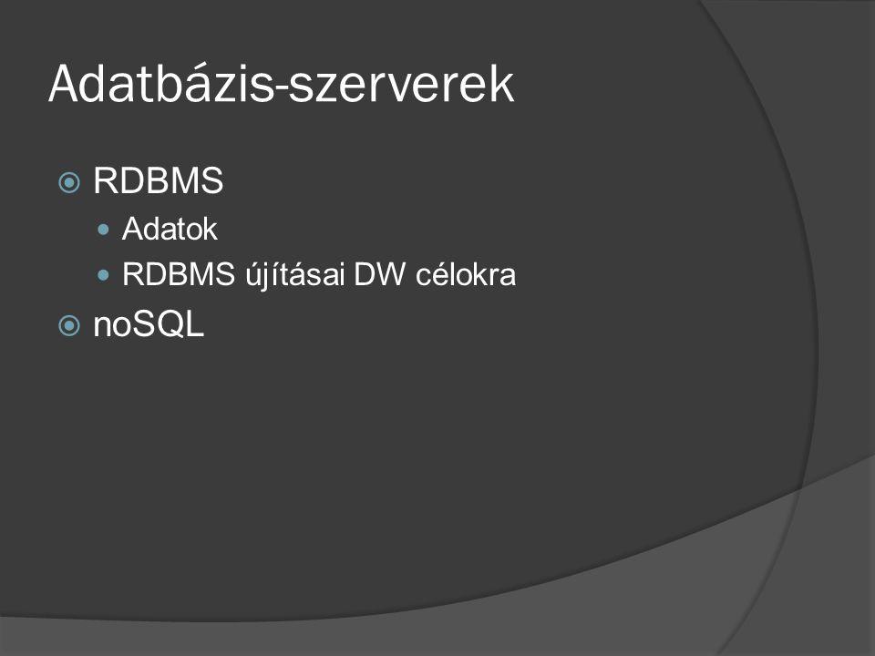 Adatbázis-szerverek  RDBMS Adatok RDBMS újításai DW célokra  noSQL