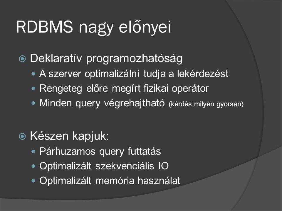 RDBMS nagy előnyei  Deklaratív programozhatóság A szerver optimalizálni tudja a lekérdezést Rengeteg előre megírt fizikai operátor Minden query végrehajtható (kérdés milyen gyorsan)  Készen kapjuk: Párhuzamos query futtatás Optimalizált szekvenciális IO Optimalizált memória használat