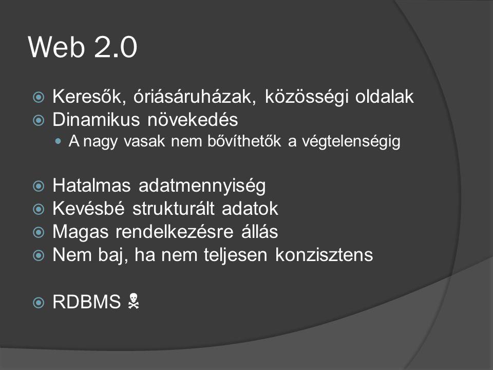 Web 2.0  Keresők, óriásáruházak, közösségi oldalak  Dinamikus növekedés A nagy vasak nem bővíthetők a végtelenségig  Hatalmas adatmennyiség  Kevésbé strukturált adatok  Magas rendelkezésre állás  Nem baj, ha nem teljesen konzisztens  RDBMS 