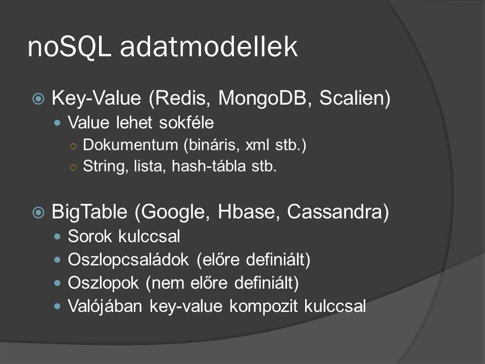 noSQL adatmodellek  Key-Value (Redis, MongoDB, Scalien) Value lehet sokféle ○ Dokumentum (bináris, xml stb.) ○ String, lista, hash-tábla stb.
