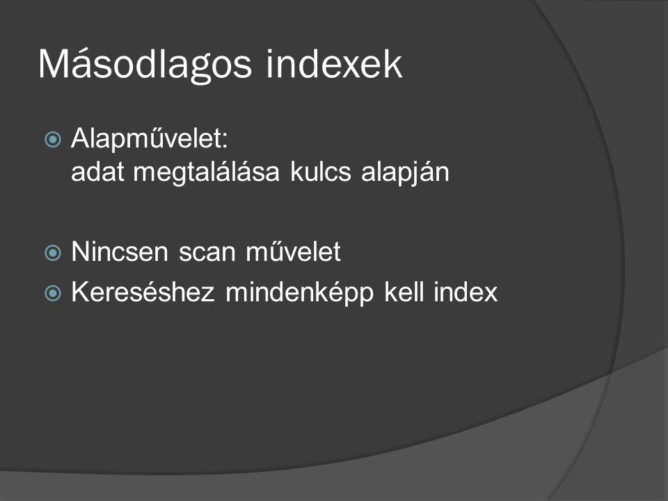 Másodlagos indexek  Alapművelet: adat megtalálása kulcs alapján  Nincsen scan művelet  Kereséshez mindenképp kell index