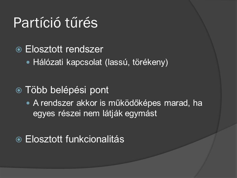 Partíció tűrés  Elosztott rendszer Hálózati kapcsolat (lassú, törékeny)  Több belépési pont A rendszer akkor is működőképes marad, ha egyes részei nem látják egymást  Elosztott funkcionalitás