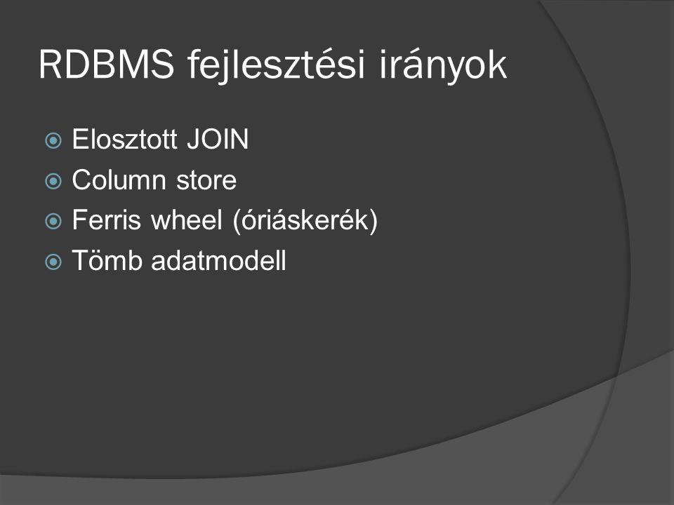 RDBMS fejlesztési irányok  Elosztott JOIN  Column store  Ferris wheel (óriáskerék)  Tömb adatmodell