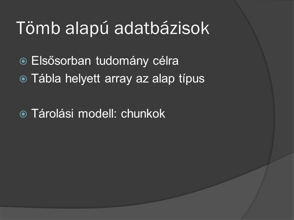 Tömb alapú adatbázisok  Elsősorban tudomány célra  Tábla helyett array az alap típus  Tárolási modell: chunkok