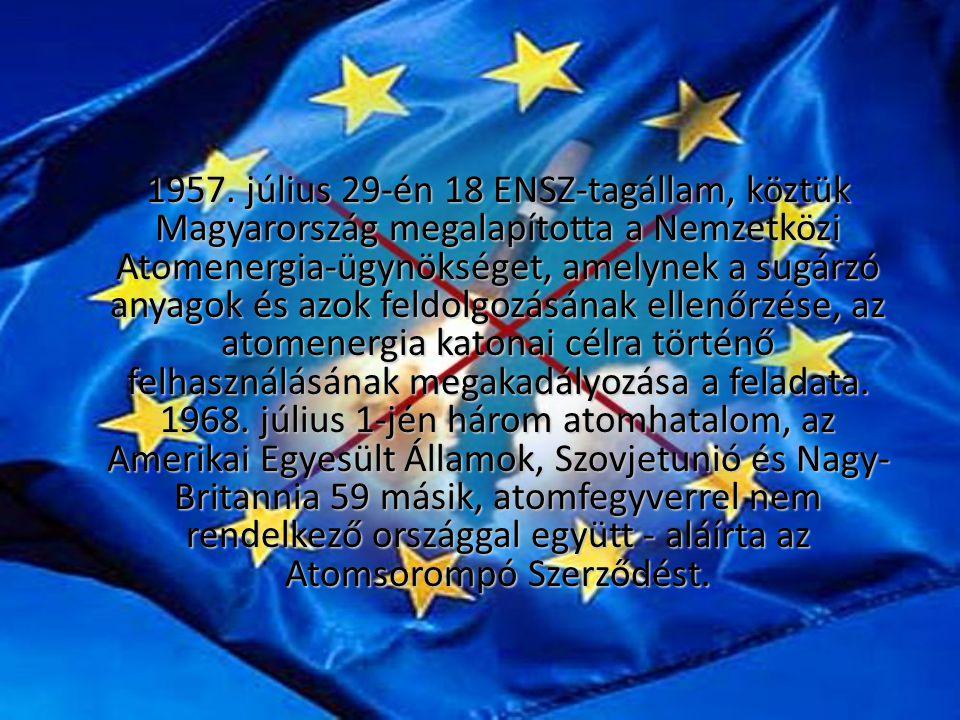 1957. július 29-én 18 ENSZ-tagállam, köztük Magyarország megalapította a Nemzetközi Atomenergia-ügynökséget, amelynek a sugárzó anyagok és azok feldol