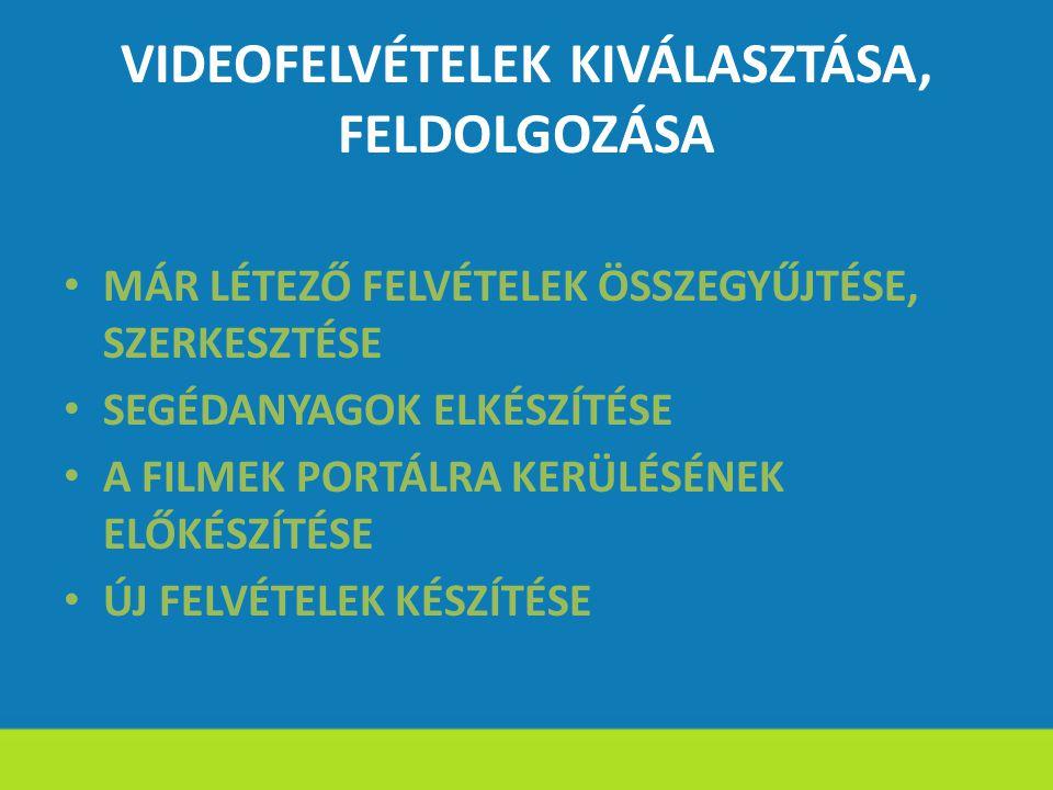 VIDEOFELVÉTELEK KIVÁLASZTÁSA, FELDOLGOZÁSA MÁR LÉTEZŐ FELVÉTELEK ÖSSZEGYŰJTÉSE, SZERKESZTÉSE SEGÉDANYAGOK ELKÉSZÍTÉSE A FILMEK PORTÁLRA KERÜLÉSÉNEK EL