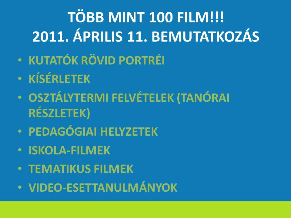 TÖBB MINT 100 FILM!!! 2011. ÁPRILIS 11. BEMUTATKOZÁS KUTATÓK RÖVID PORTRÉI KÍSÉRLETEK OSZTÁLYTERMI FELVÉTELEK (TANÓRAI RÉSZLETEK) PEDAGÓGIAI HELYZETEK